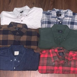 LOT of 6- J.Crew Flannel Button Down Shirts